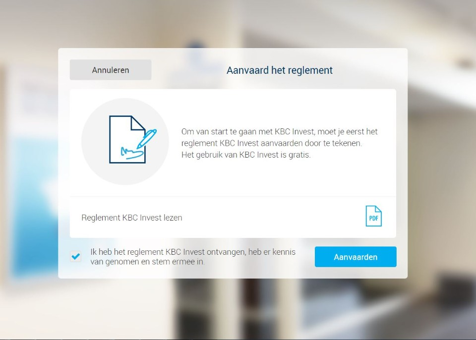 Logging in to KBC Brussels Invest for the first time